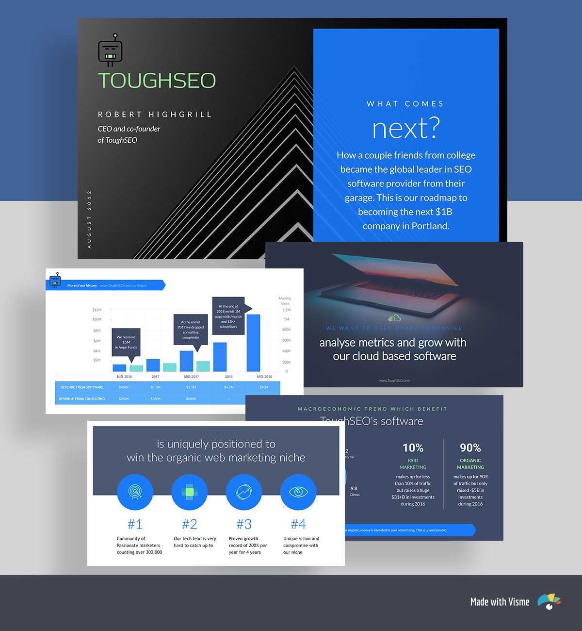 A collage of blue and black pitch deck template slides with a bar graph, icons and a laptop image