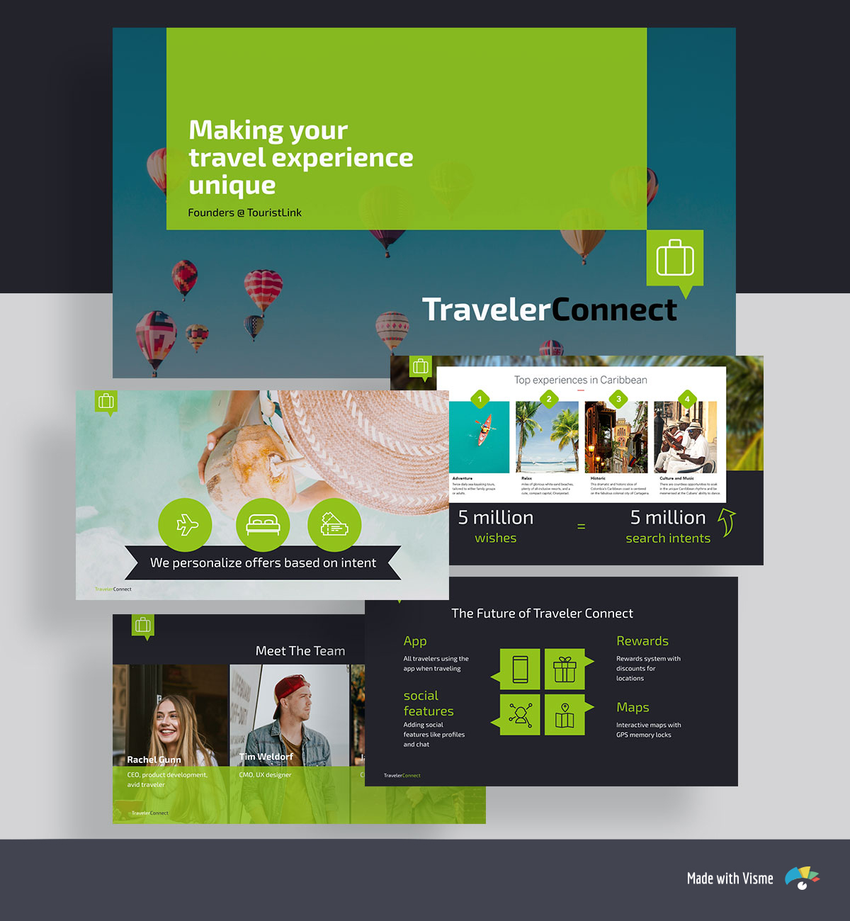 A collage of green and black pitch deck template slides with travel images and icons