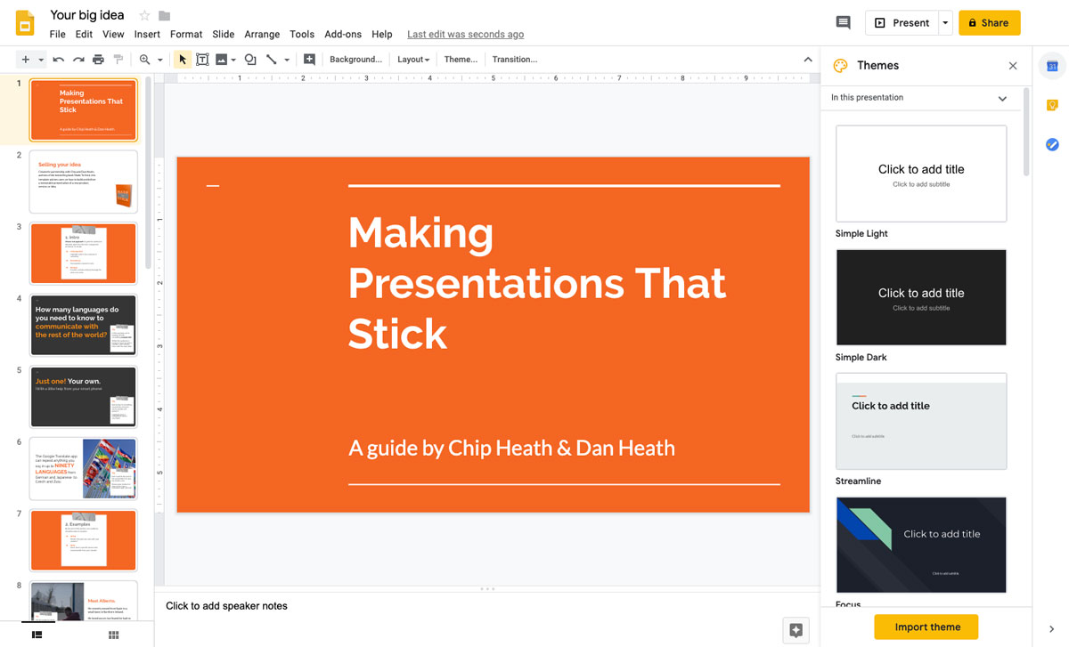 A screenshot of an orange presentation slide open in the Google Slides presentation editor
