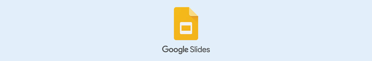 The Google Slides logo against a light blue background