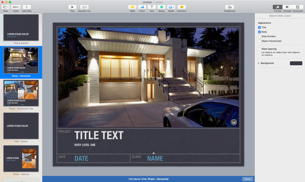 A screenshot of a presentation open in Keynote's presentation editor with a preview of five gray slides on the left