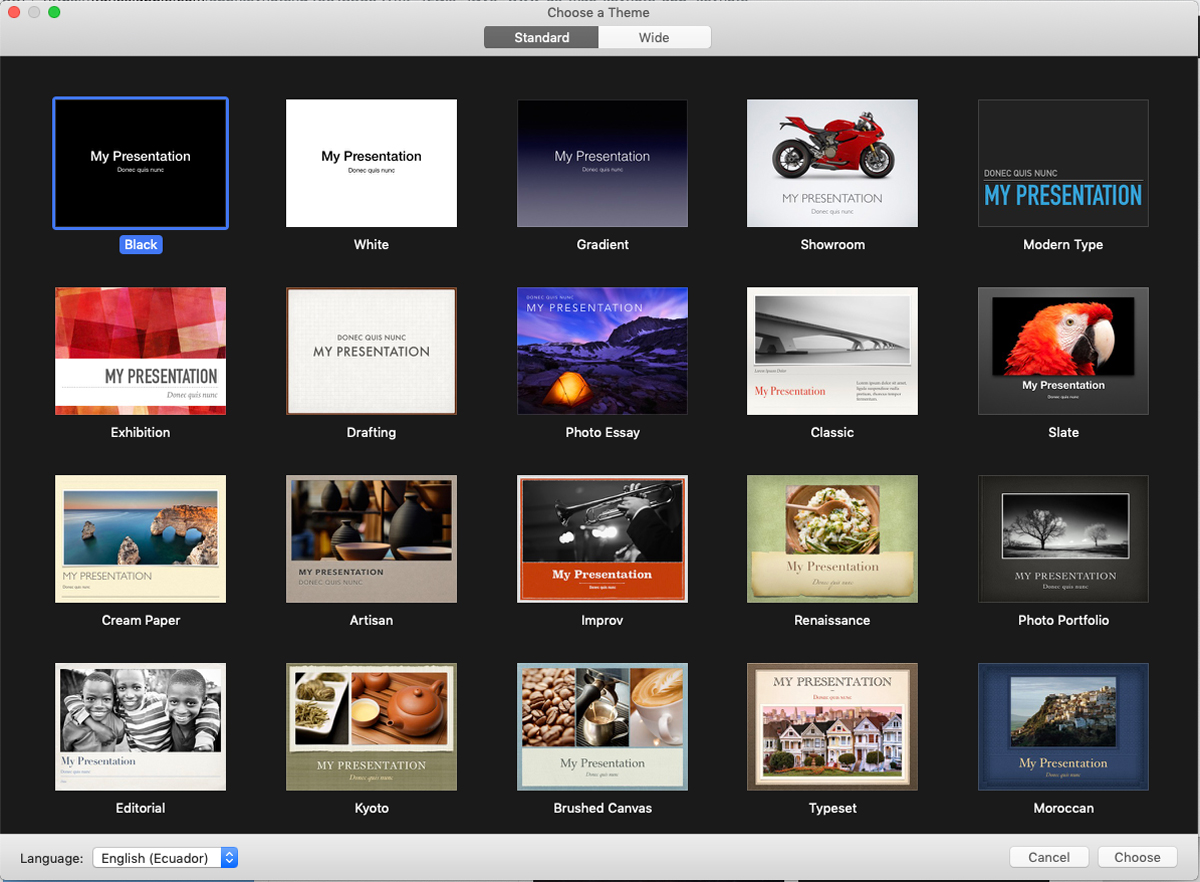 A screenshot showcasing twenty of the available presentation templates in Keynote's software