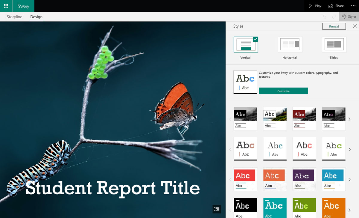A screenshot of a student report presentation slide open in Microsoft Sway's presentation software