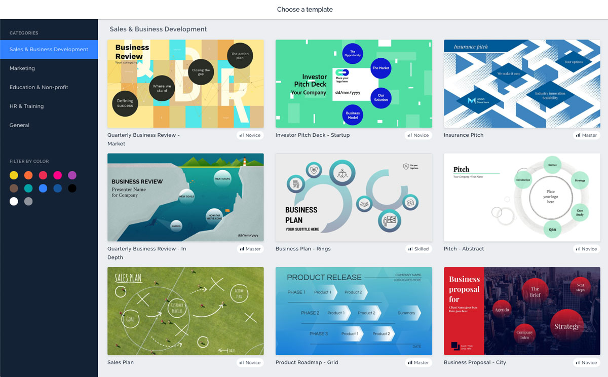 A screenshot showcasing nine of Prezi's presentation templates in their software