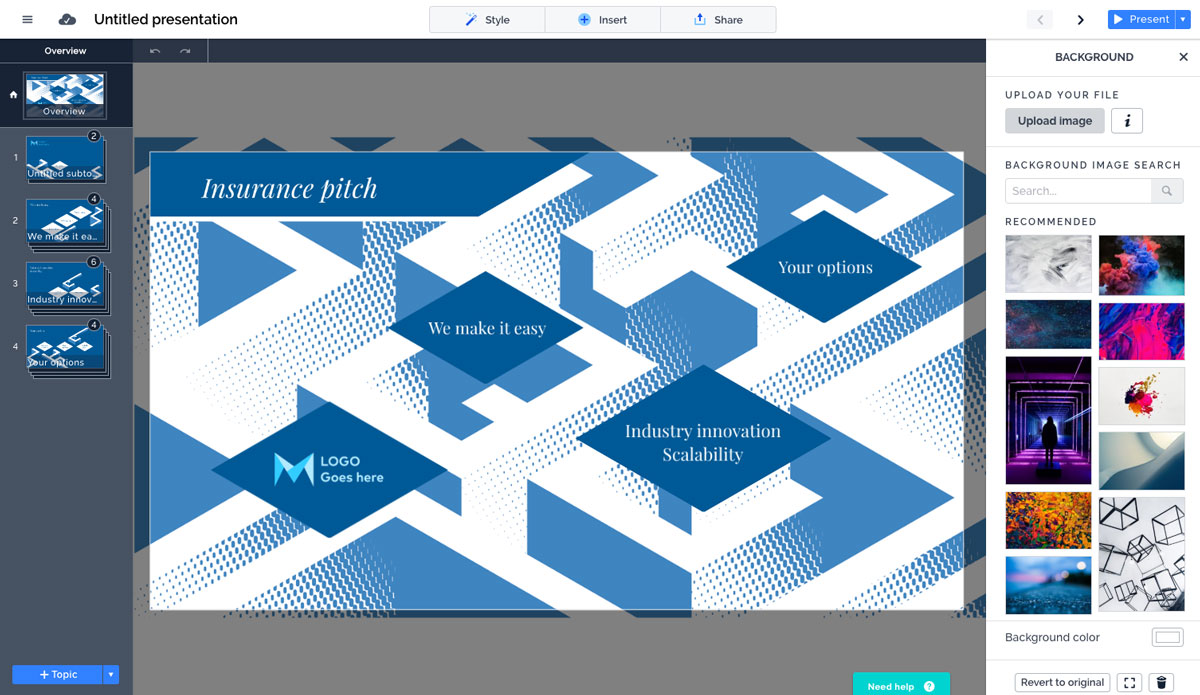 A screenshot of Prezi's presentation editor with five slides and a selection of stock photos shown