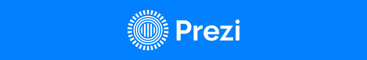 Prezi's logo against a bright blue background