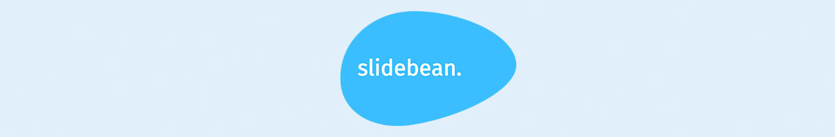 Slidebean's logo against a light blue background