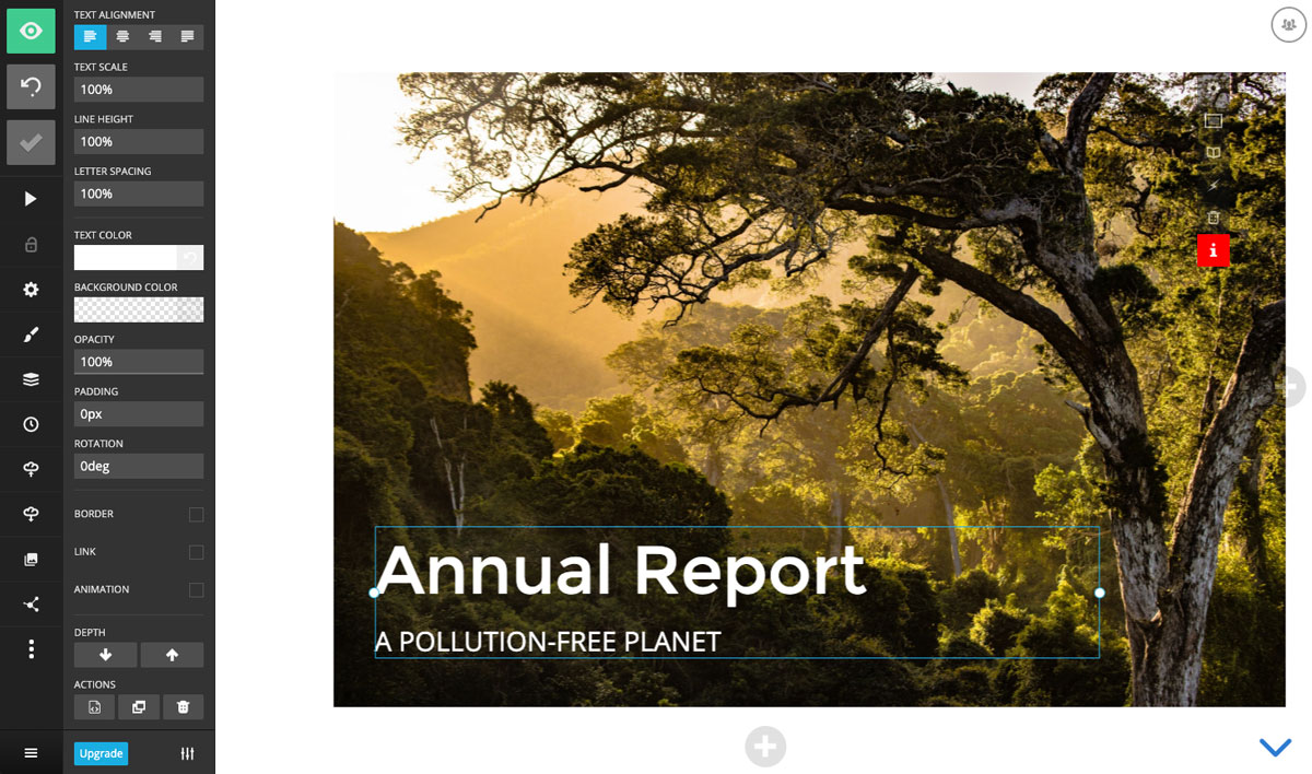 A screenshot of an annual report presentation title slide with a background photo of a tree in the Slides presentation editor