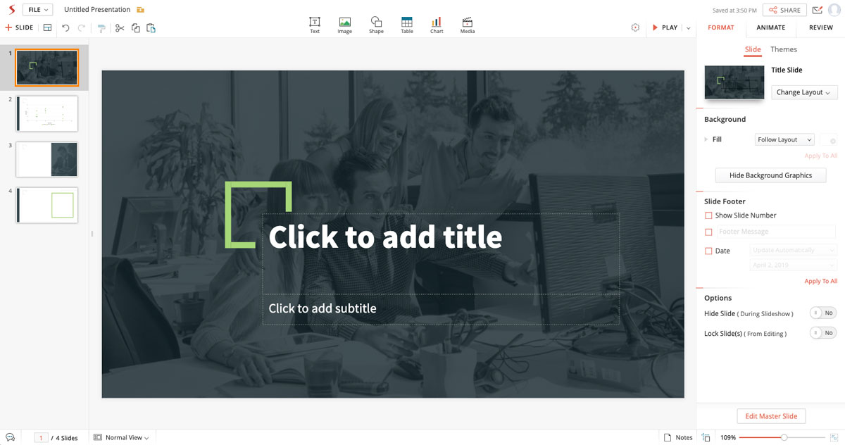 A screenshot of a presentation with four slides open in Zoho's presentation editor