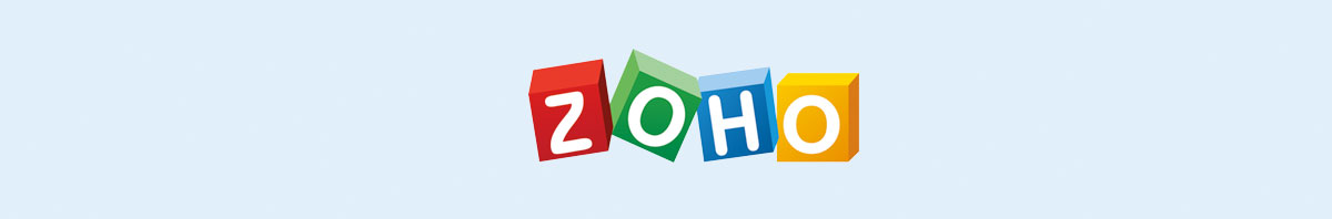 Zoho's logo against a light blue background