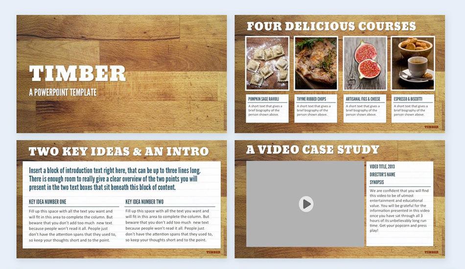 use a wood theme creative presentation ideas