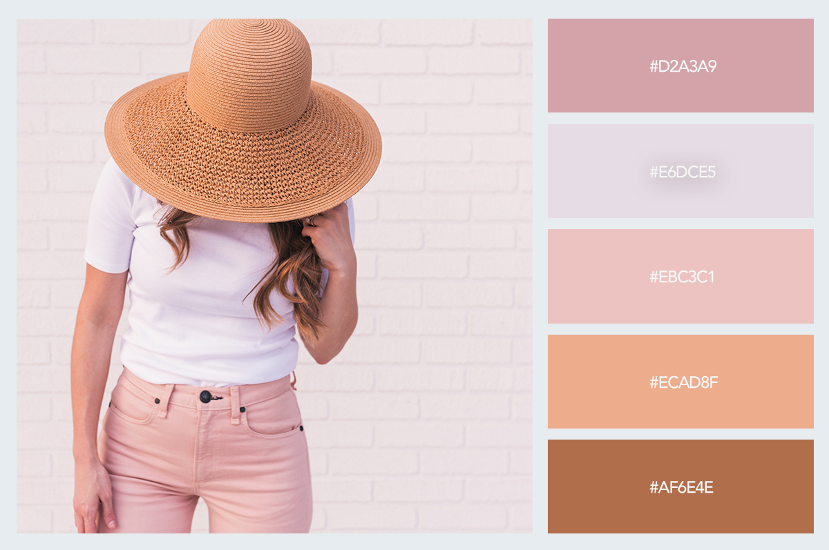 woman summer hat beach color palette hex codes pastel colors